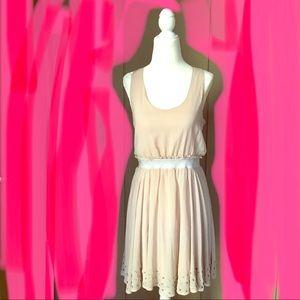 Lucca couture belted cream dress medium